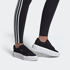 Adidas | Hypersleek Black Suede Platform Sneakers